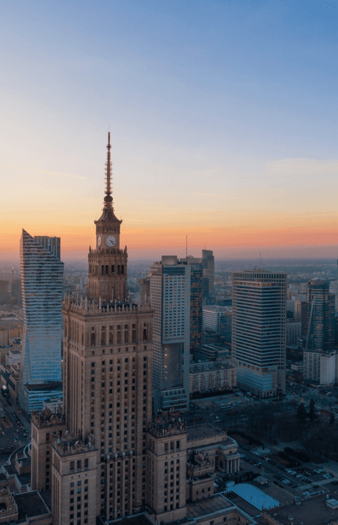 aerial view of the business center of warsaw palac V 1